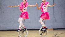 DM2019 Einrad-Freestyle - AK Paarkür U15 - Lara Michael & Nele Ulrich - Thema Flamingos - 4. Platz